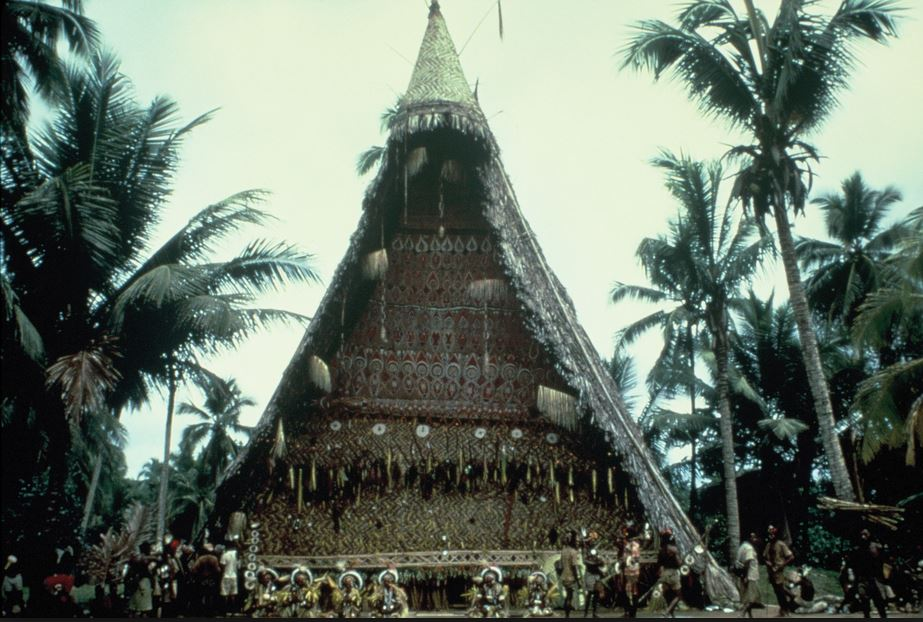 Nggwal Bunafunei spirit house (men's house). From ' The Cassowary's Revenge' (1997)  by Donald Tuzin.