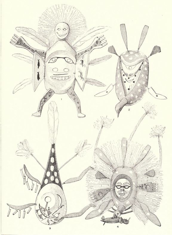 Drawings of Alaskan ceremonial masks. From 'The Eskimo about Bering Strait' (1900) by Edward Nelson.