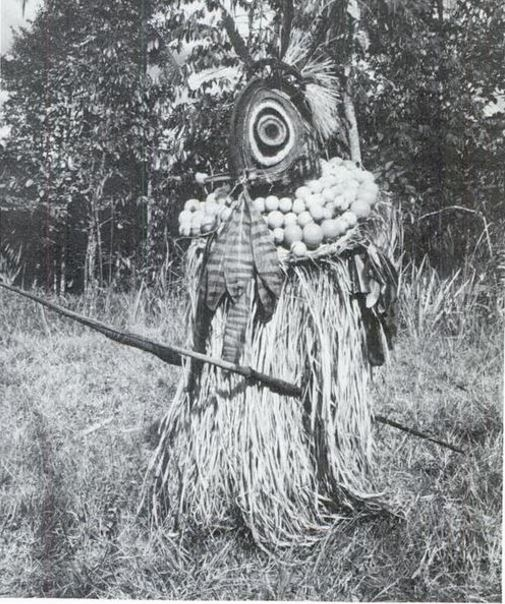 """Hangamu'w  with crimped-leaf homicide badges."" from  The Voice of the Tambaran  (1980) by Donald Tuzin"
