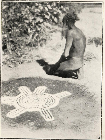 """If, peradventure, an unauthorized person happens upon the sanctified place, he is killed and buried immediately beneath the spot occupied by the design…"" from  The Australian aboriginal  (1925) by Herbert Basedow."