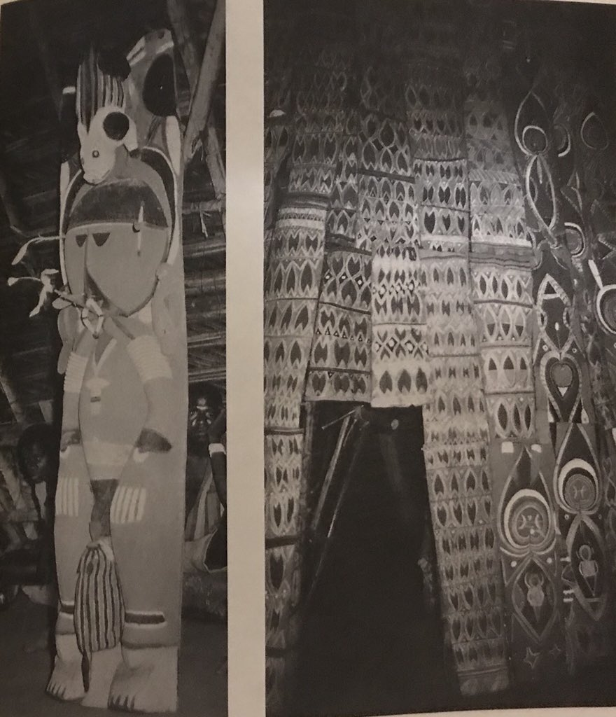 "Artwork from the New Guinea Ilahita Arapesh's men house. Left: ""Nggwal Bunafunei statue, showing a piglet drinking from the penis of a cult spirit while the mother pig looks on from above (1971)"" and Right: ""The door to inner sanctum of the Nggwal Bunafunei spirit house stands open, due to the temporary removal of the sacred pipes and drums (1971)"". From  The Cassowary's Revenge  (1997) by Donald Tuzin."
