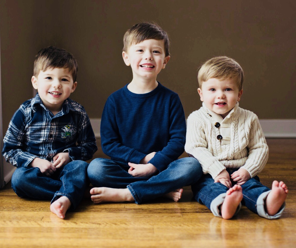 Carter, Age 5, with his two brothers