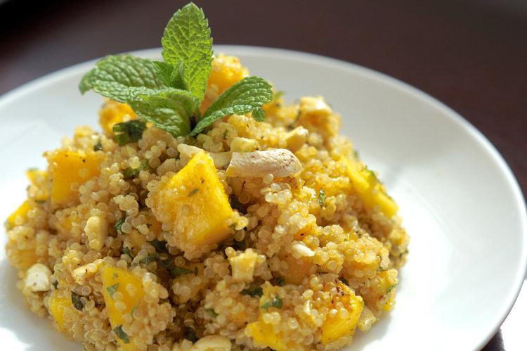quinoa salad with mint cashews and mango.jpg