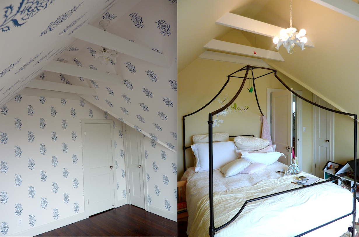 A great After + Before example here... A room can be TRANSFORMED with just wallpaper!