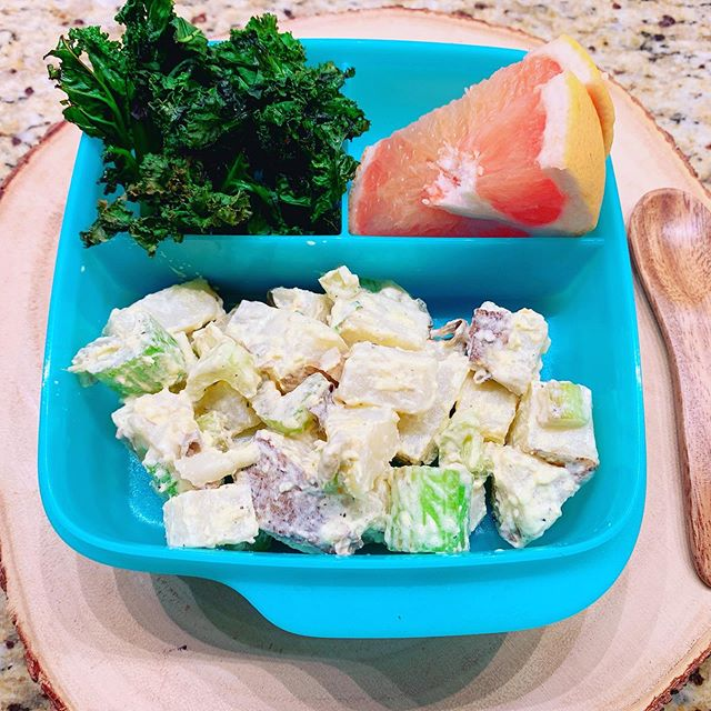 Does your kid hate lunch at school? If you're looking for healthy lunch ideas, a potato salad is filling and delicious. Get your kids to help peel the potatoes or add in the salt and pepper. This makes it fun and they are more likely to eat the food they prepare.  Recipe: boil 2 potatoes until tender, peel and cut into cubes. Add 2 stalks of celery, 1 tsp of mustard, salt and pepper to taste. You can also substitute with sweet potatoes. #kidsinthekitchen #healthyschoollunch #kidscooking #goodfoodtastesbetter #fightchildhoodobesity #weightlossforkids
