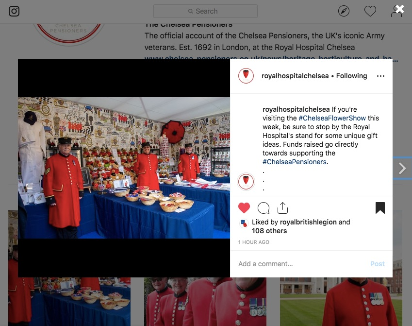 Featured on the Chelsea Pensioner's Instagram account