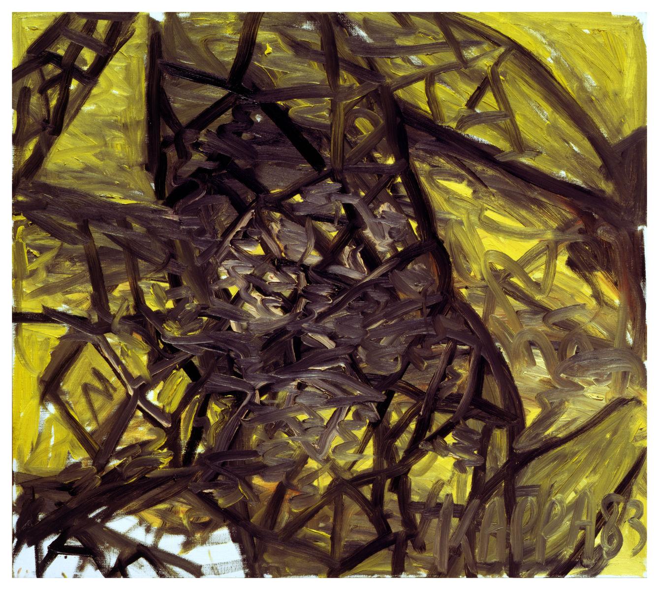 Pagliaccio ,1983, Oil on canvas, 35h x 39w in (90h x 100w cm), Morat-Institute, Freiburg in Breisgau