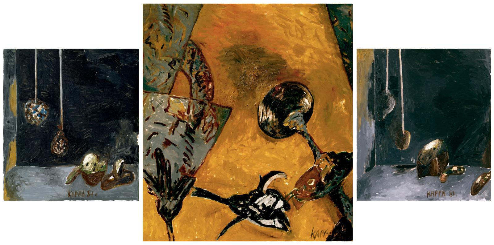 Schwarzmacht Triptychon , 1981, Oil on canvas, 79h x 156w in (201h x 396w cm), Morat-Institute, Freiburg in Breisgau