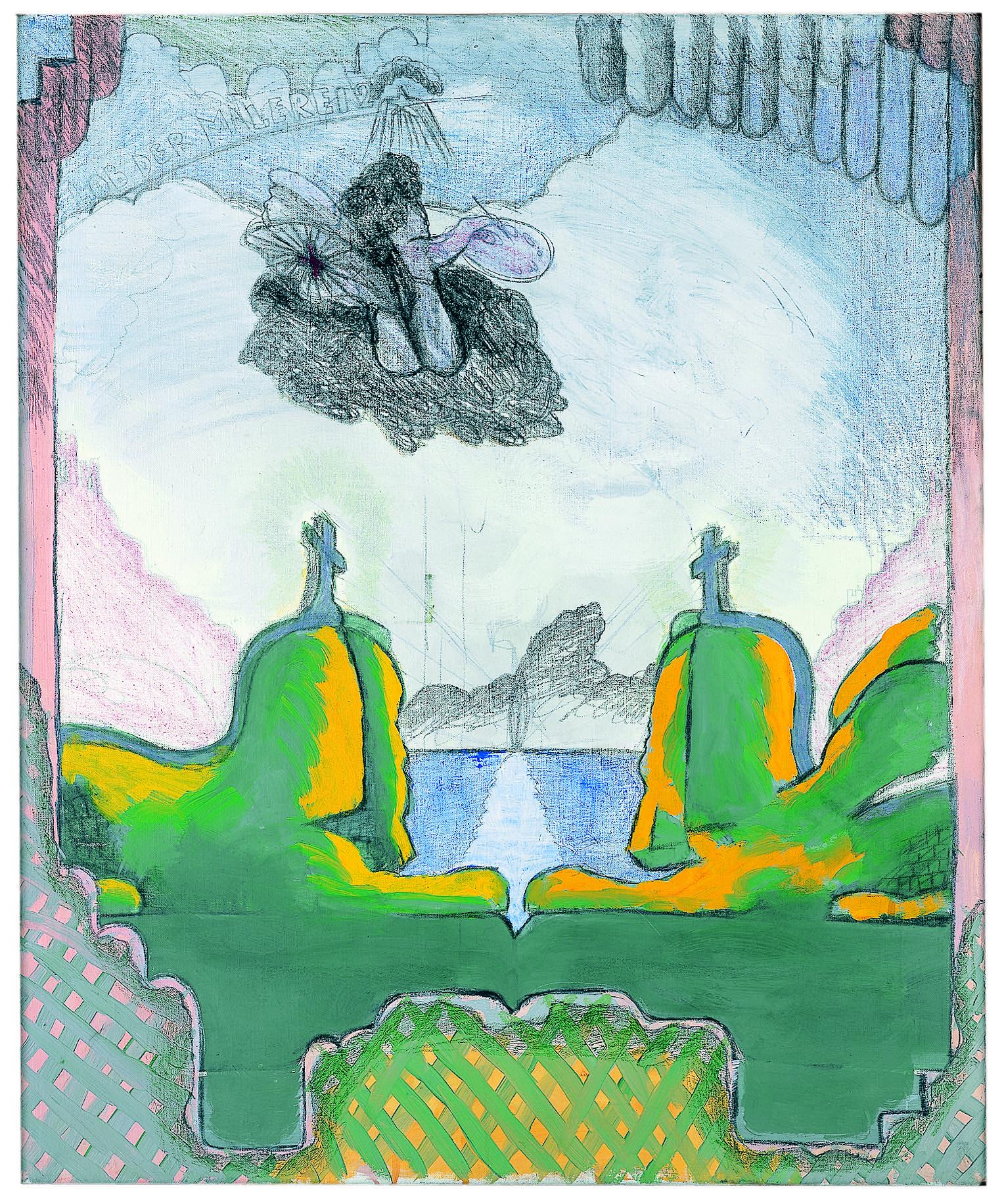 Lob der Malerei 2 , 1969, Dispersion, crayon, and graphite on canvas, 39.56h x 33.07w in (100.5h x 84w cm), Morat-Institute, Freiburg in Breisgau