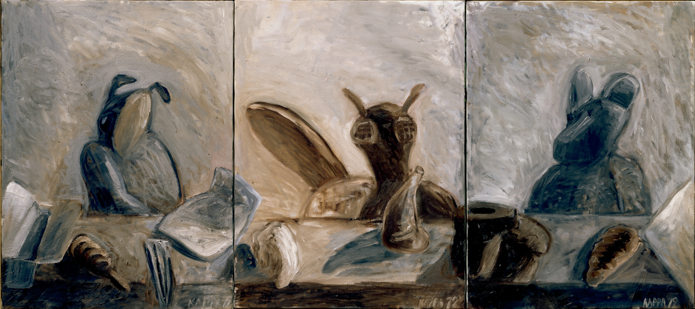 Gesellschaft , 1979, Oil on canvas, 31.49h x 70.86w (80h x 180w cm in three parts), Morat-Institute, Freiburg in Breisgau