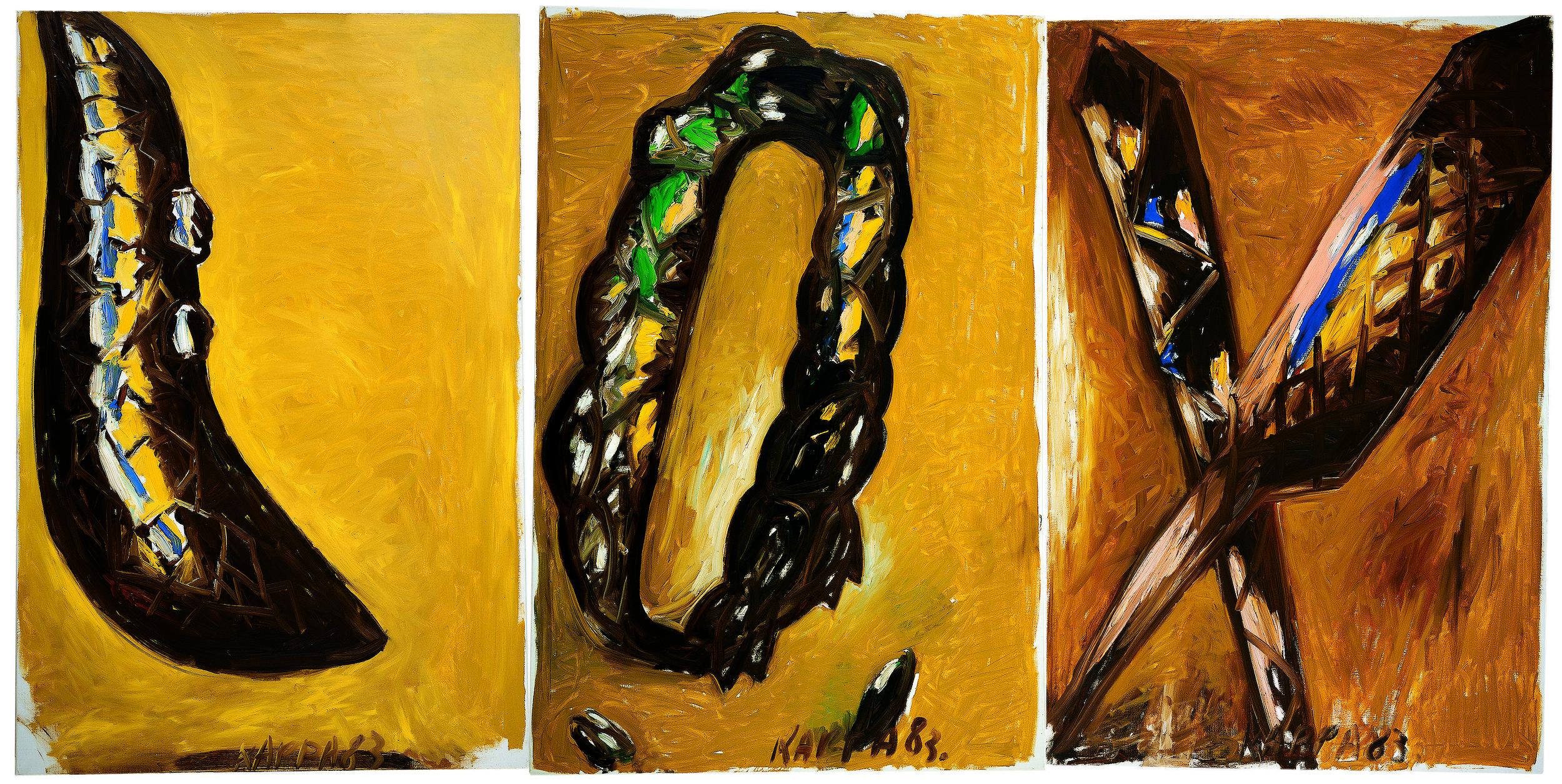 Lox , 1983, Oil on canvas, 59 x 39.37w in (150h x 100w cm each) triptych, Private collection
