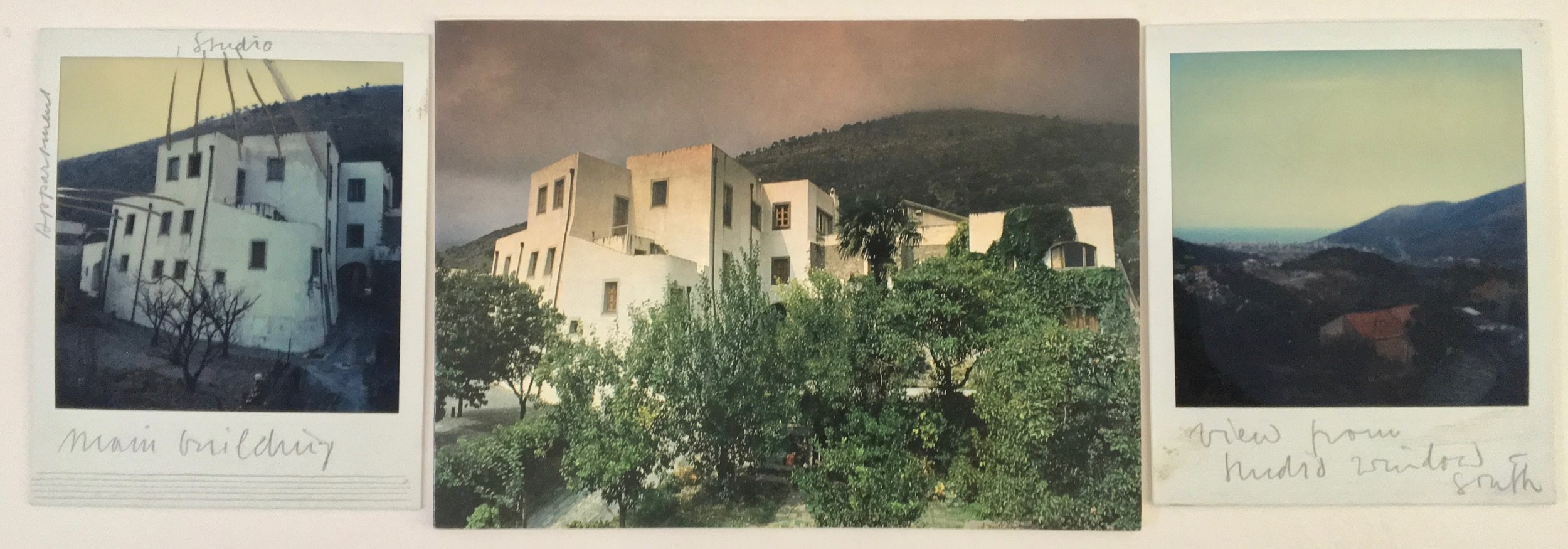Kocherscheidt's studio in Bolsano, Italy, c.1980. Polaroids taken by Kocherscheidt with hand written notes, showing the atelier and apartments and the south view from the atelier's window.