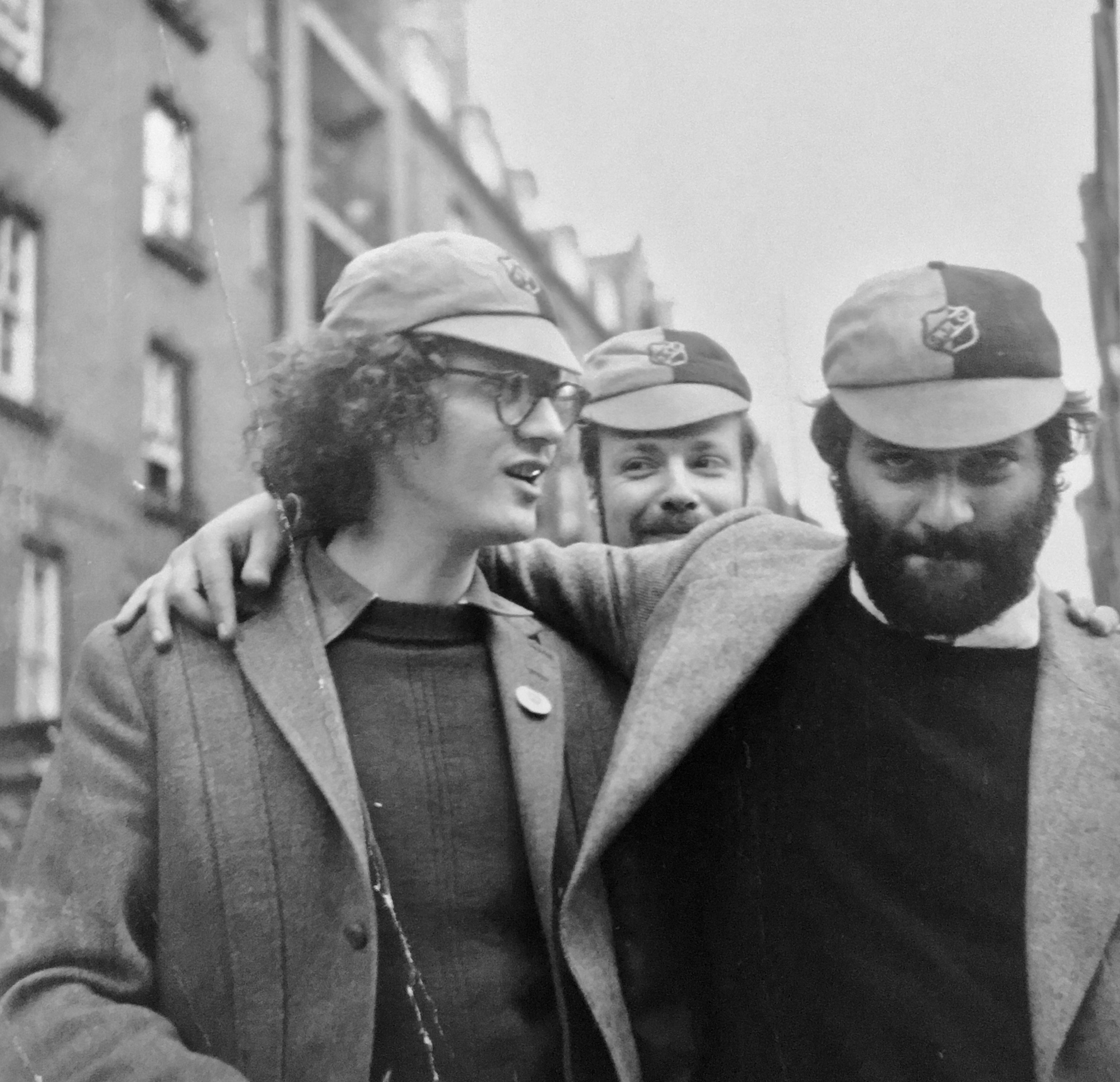 Kocherscheidt with Peter Pongratz (left) and Franz Amin Morat (back), London, c.1970