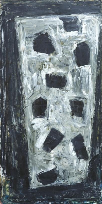 Neun im Keil , 1986, Oil on canvas, 78.74h x 39.37w in (200h x 100w cm)