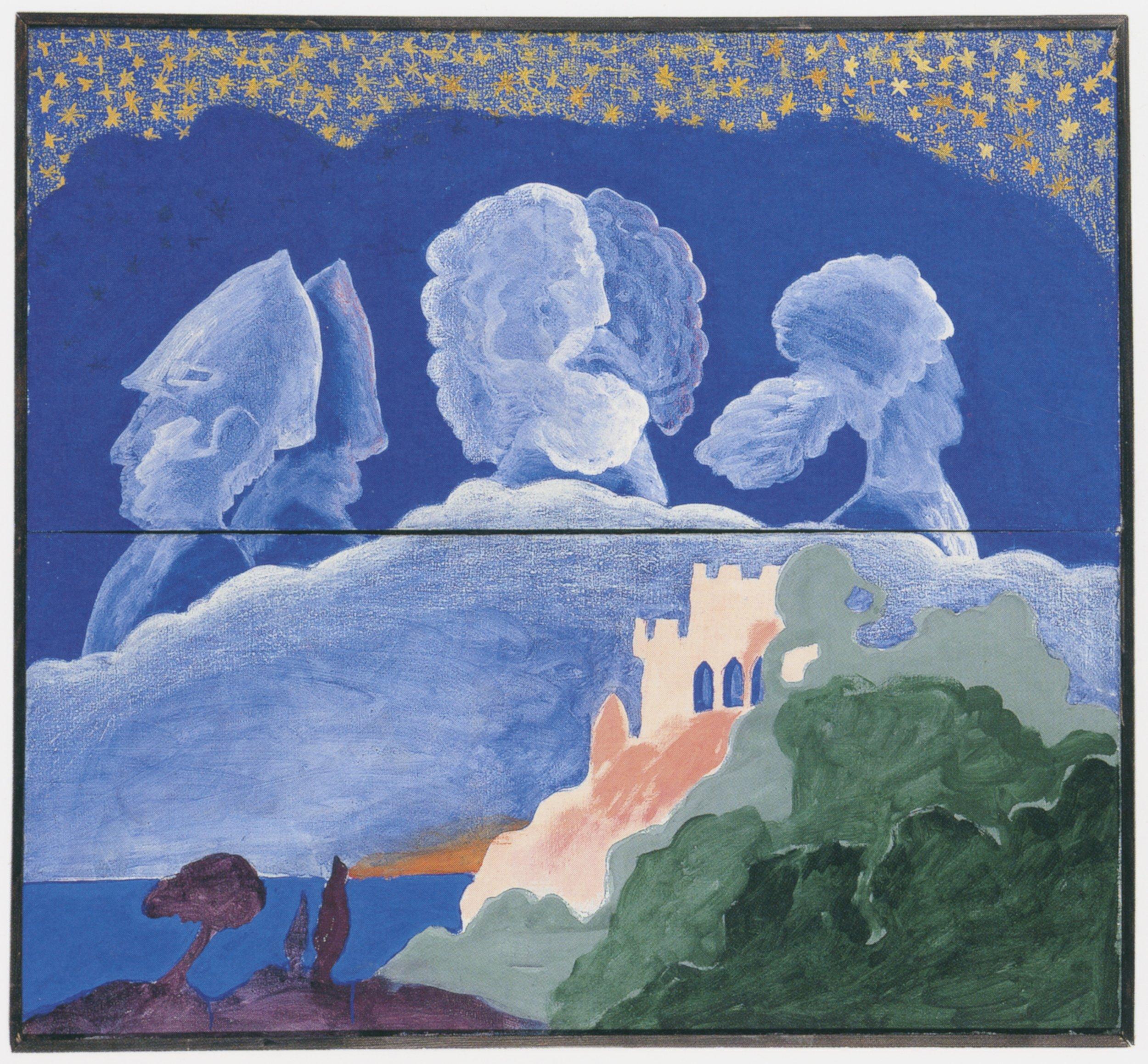 Antikes Miramare , 1968, Resin and oil pastels on canvas in two-parts, 47.24h x 51.18w in (120h x 130w cm), Museum der Moderne, Salzburg