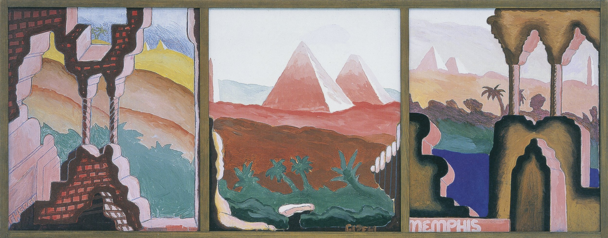 Ägyptisches Triptychon (Theben – Gizeh – Memphis) , 1969, Dispersion and crayon on canvas in three-parts, 53.14h x 45.27w in (135h x 115w cm each), Morat-Institute, Freiburg in Breisgau