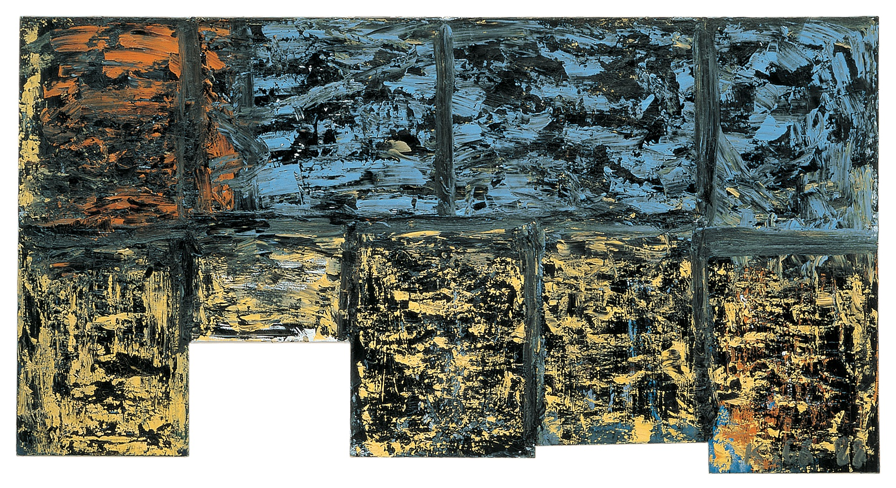 Untitled (Akademiefahne),1988, Oil on canvas in nine-parts, 36.22h x 68.50w in (92h x 174w cm each), Private collection