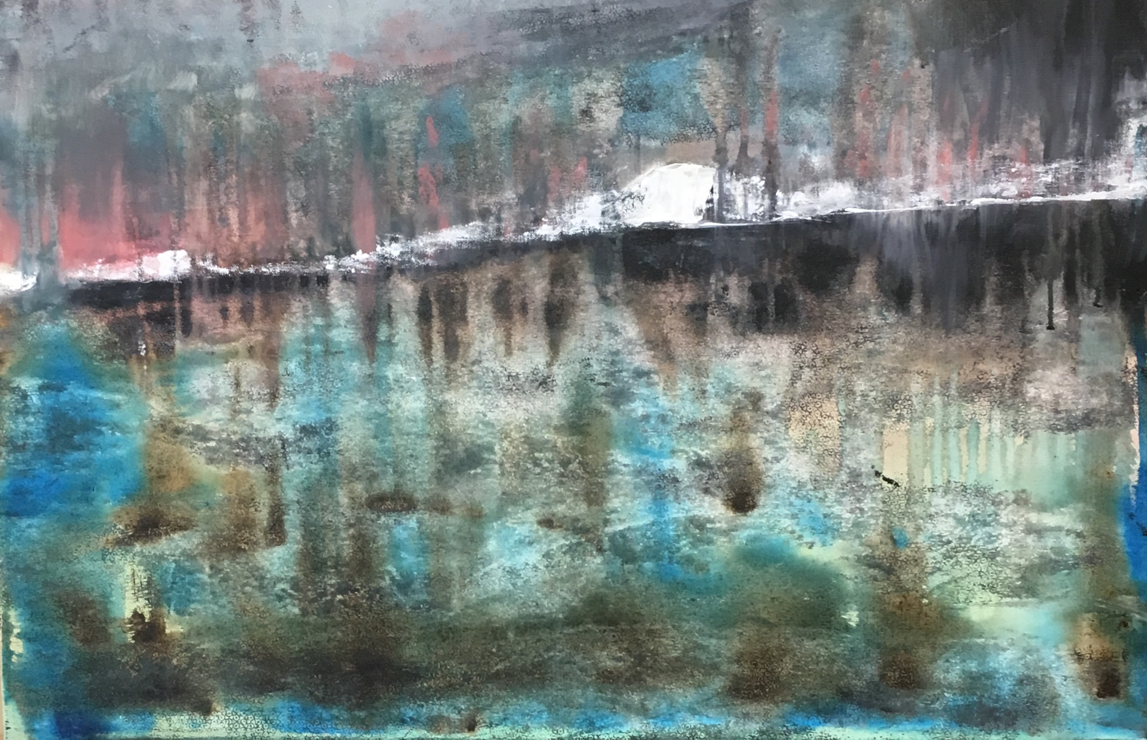 """The hill stood wide and empty Acrylic - 36""""x25"""" $1800"""