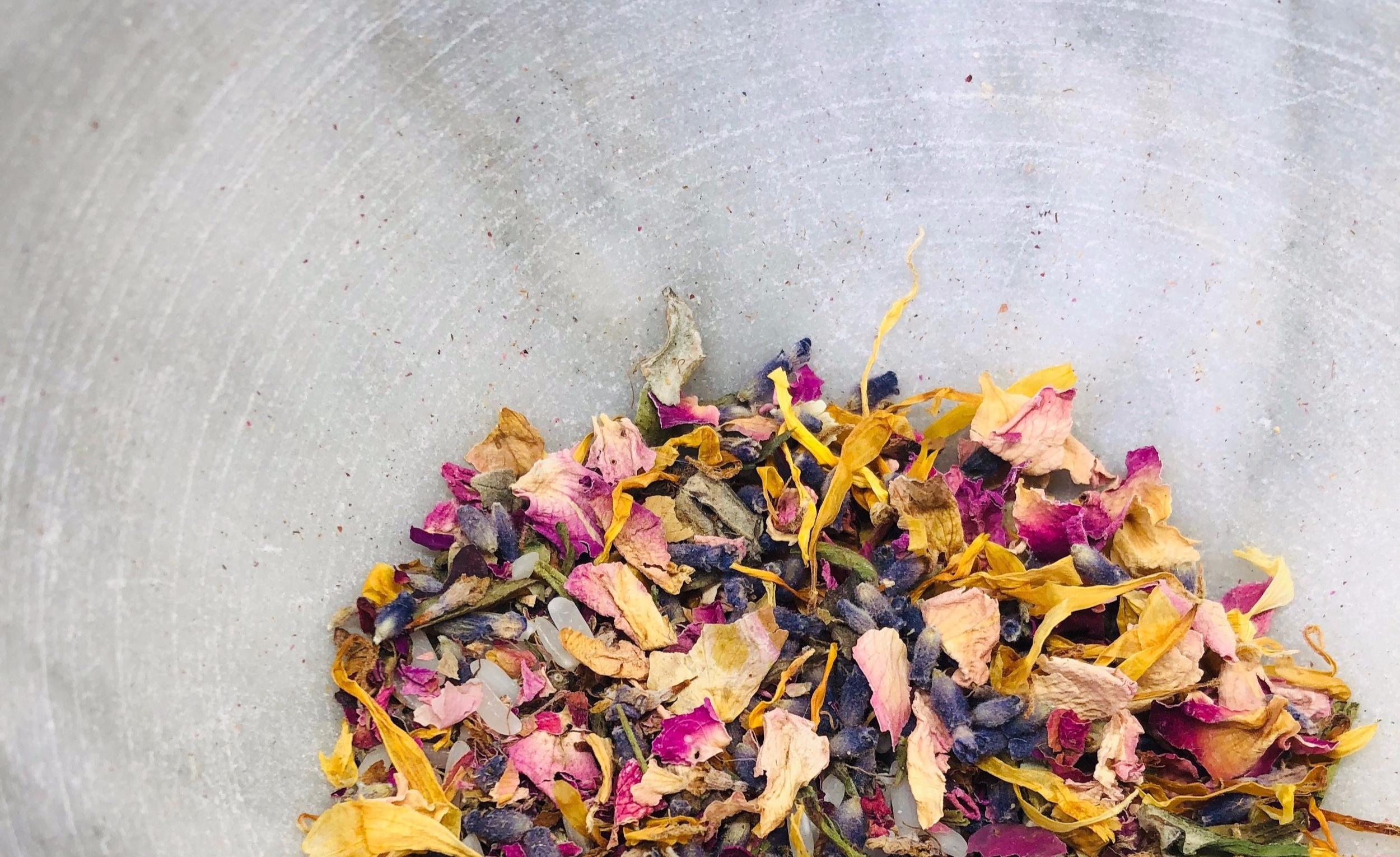 Signature Confetti Blend: 1 part rose + 1 part lavender + part calendula + 1 part rice