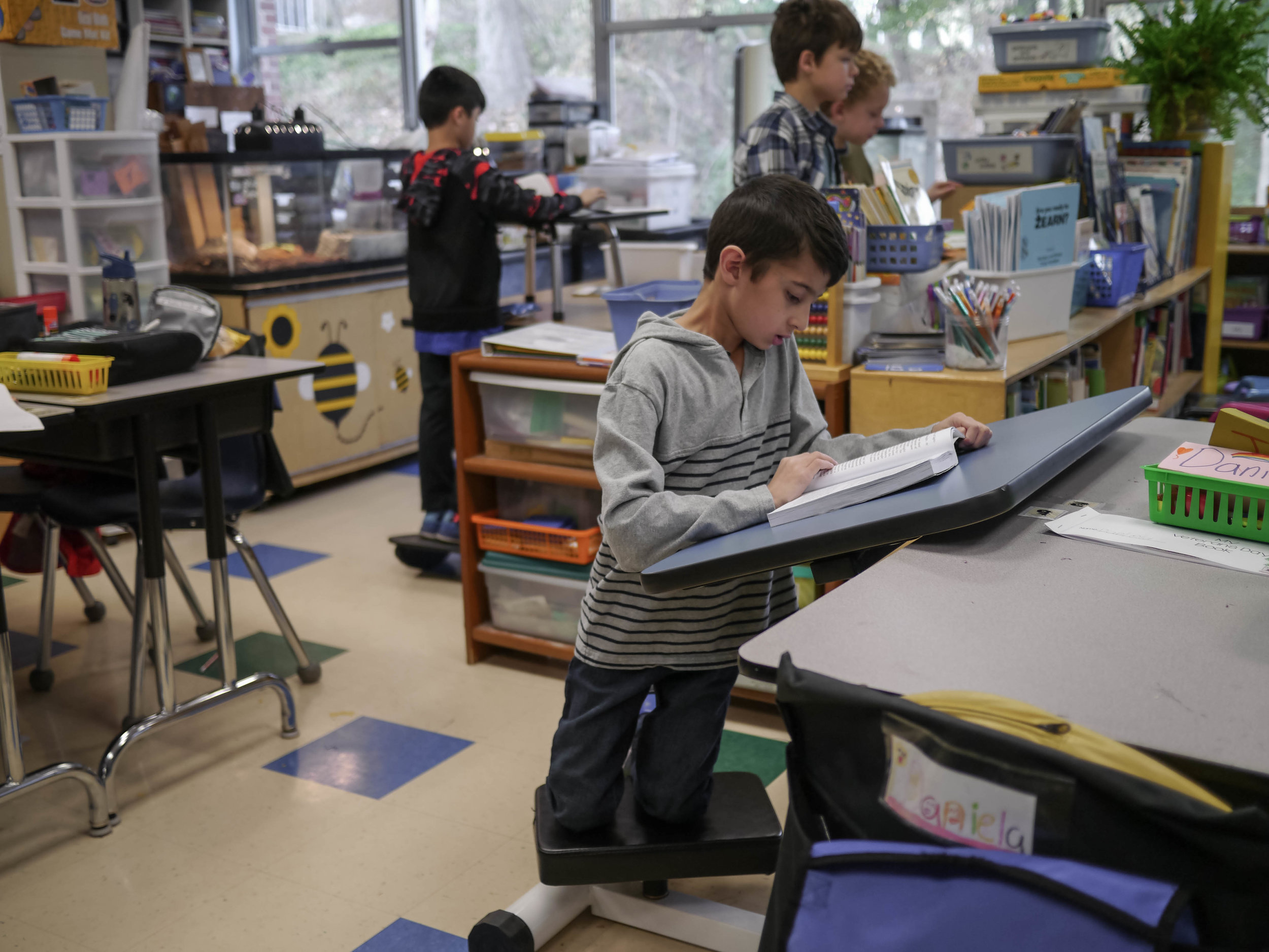 Classrooms are now outfitted with different types of flexible furniture, allowing students to move as they focus on their classwork.
