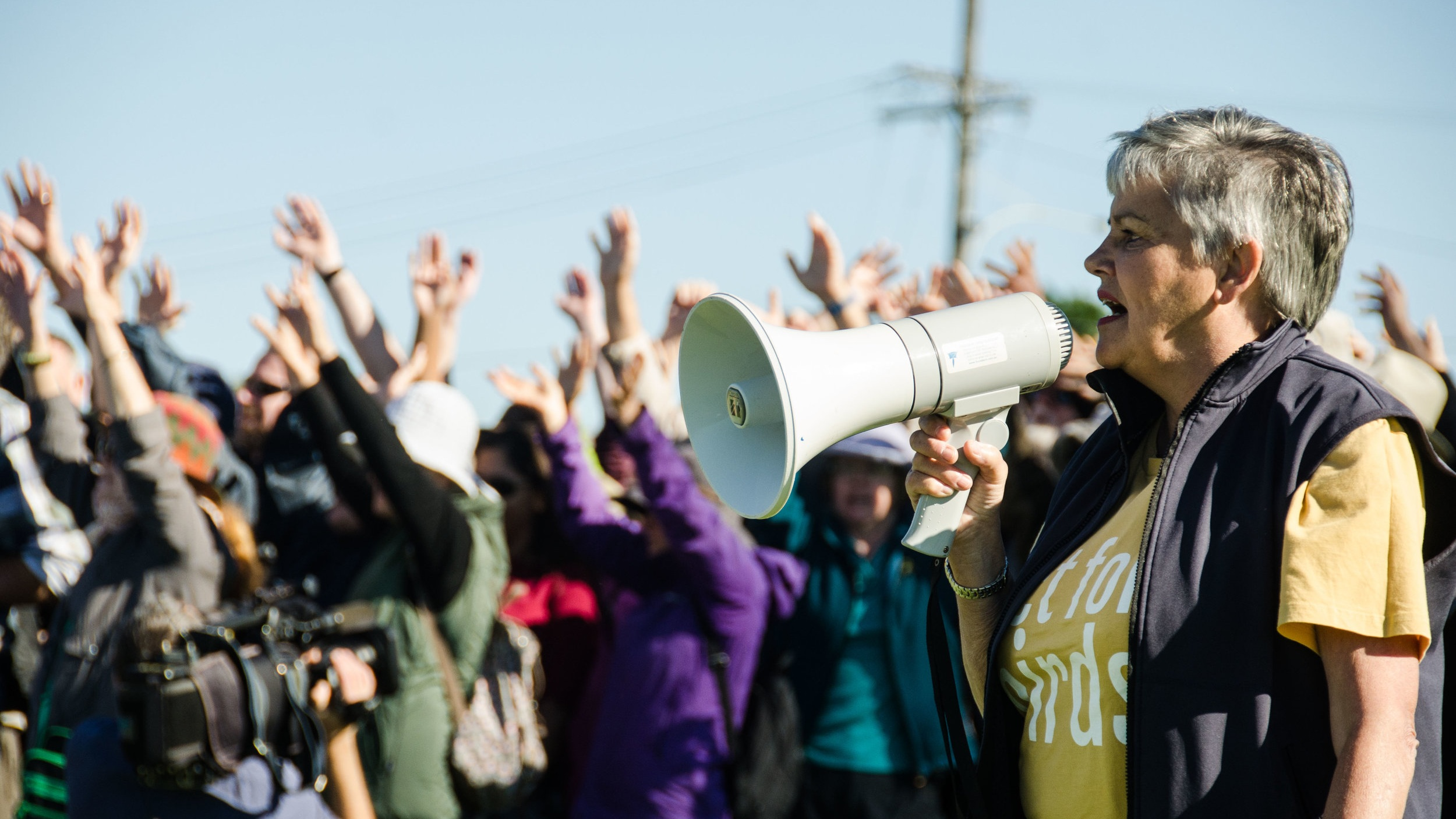 #RESPECT RAMSAR! #RESPECT RAMSAR! #RESPECT RAMSAR! Local leader Judith Hoyle rallies the crowd by Karl Goodsell