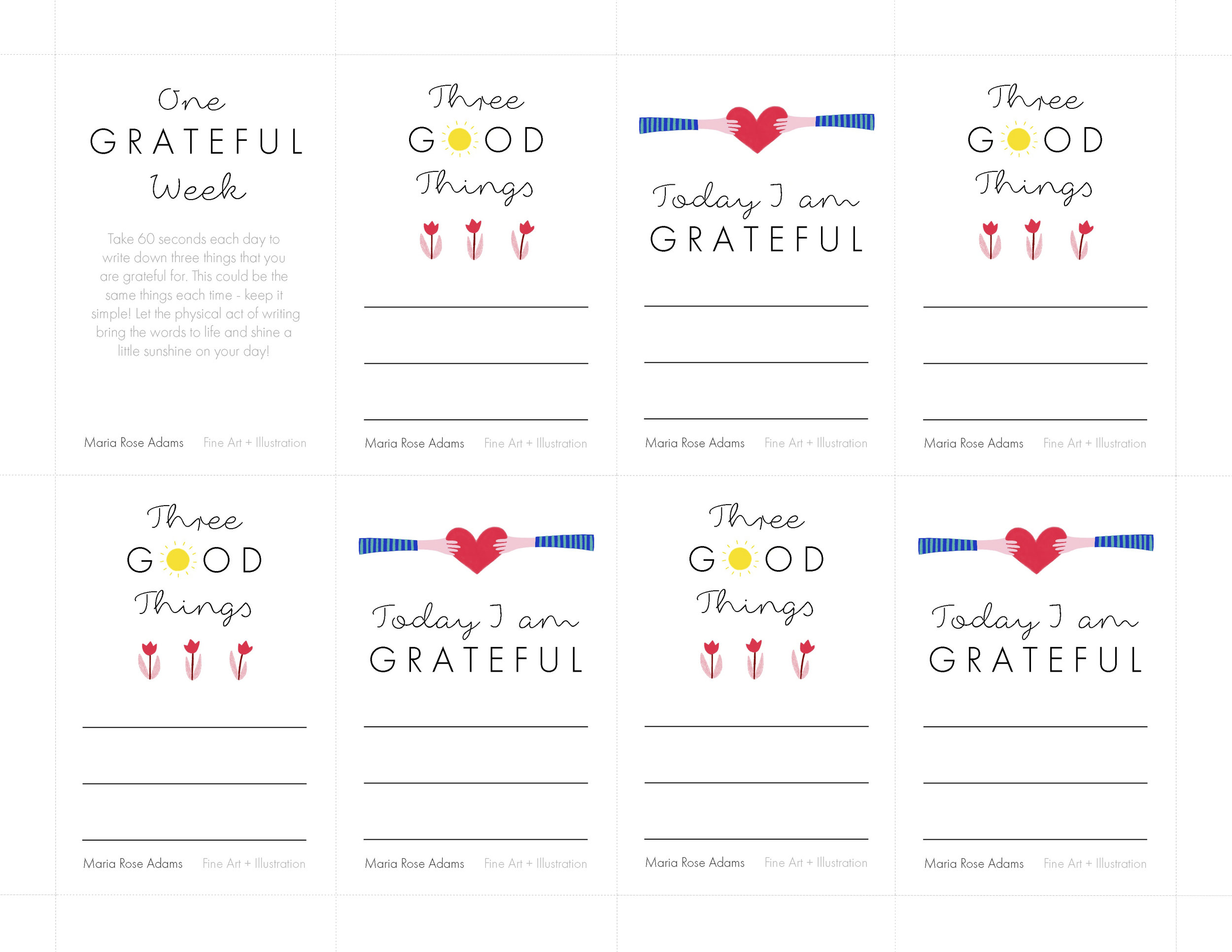"Free downloadable gratitude notecards to guide you through ""One Grateful Week"". Made with love from me to you."