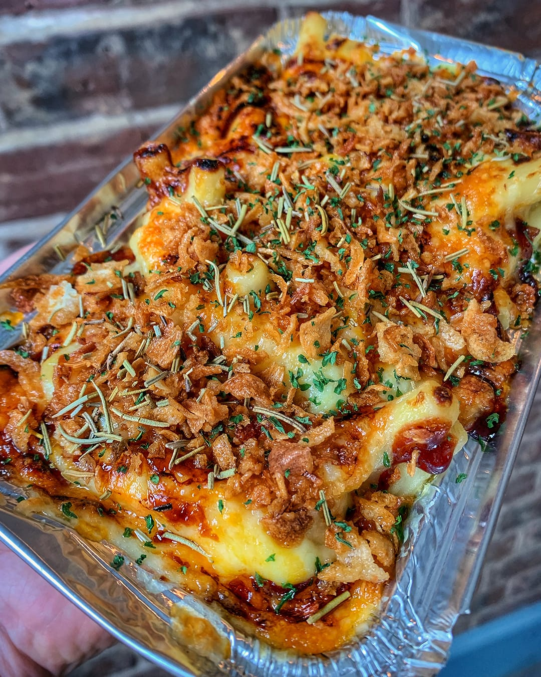 English Cheddar Crispy Shallots Mac and Cheese Need Street Food Merchant House Portsmouth