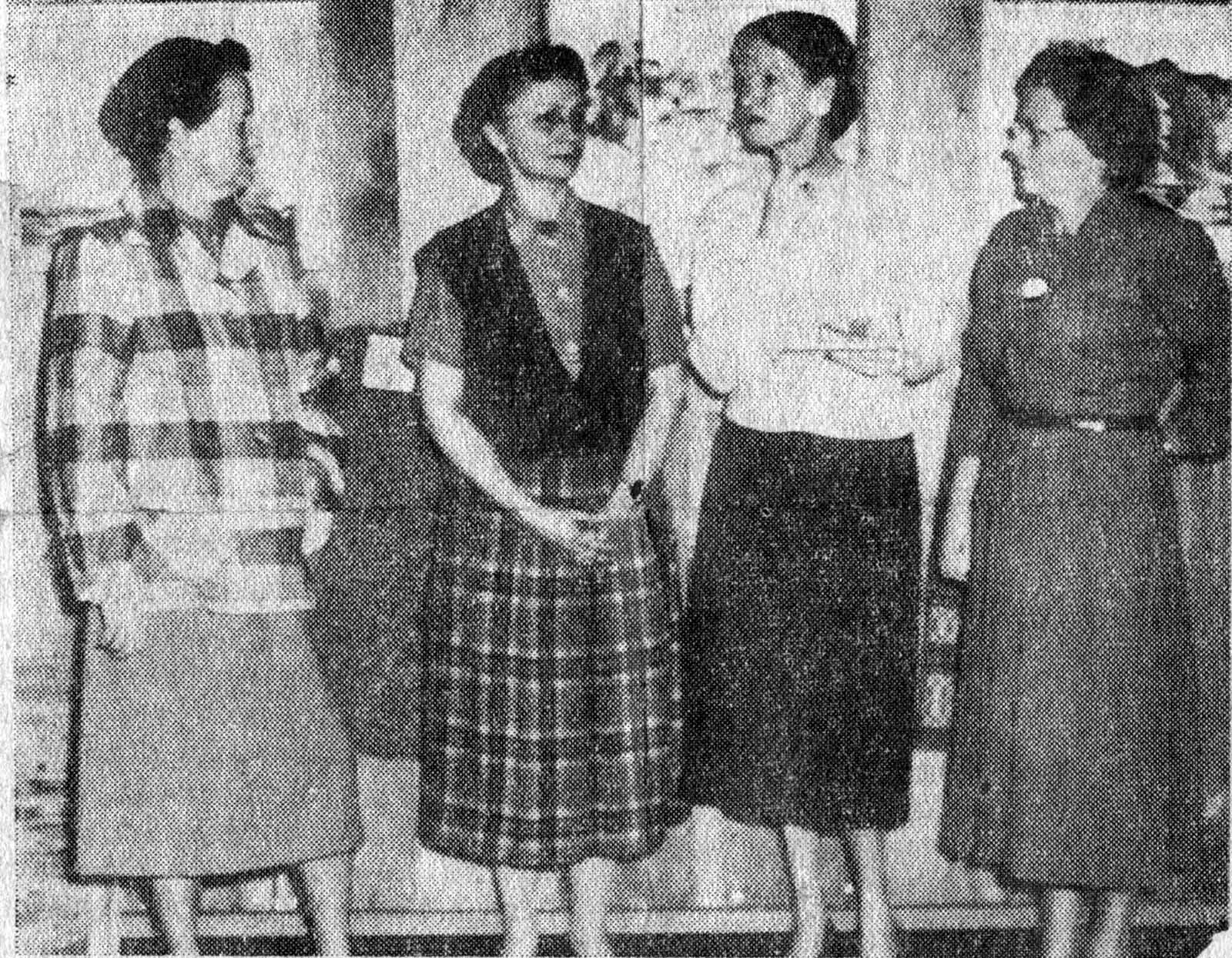 ELECTED AS NEW OFFICERS of Bainbridge Arts and Crafts at a meeting of the group November 3, were these four Island women. From the left, Mrs. Thomas Bourns, Wing Point, chairman; Mrs. George Dennis, Sunrise Drive, membership chairman; Mrs. Mimi S. McArdle, Venice, secretary and publicity, and Mrs. Evald Eliason, Port Madison, treasurer. Visible on the wall are three paintings on display in the Arts and Craft's gift shop in the Review Building, Winslow. (2-18-1954)