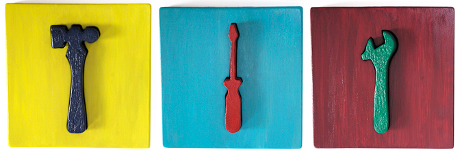 Stephen Rock,  Hammer, Screwdriver, Wrench , mixed media. Images courtesy of the artist.