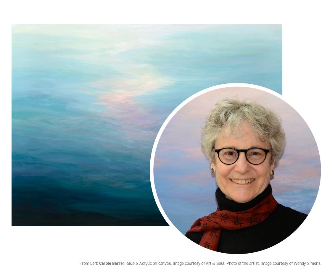 Carole Barrer,  Blue 5 . Acrylic on canvas. Image courtesy of Art & Soul. Photo of artist. Image courtesy of Wendy Simons.