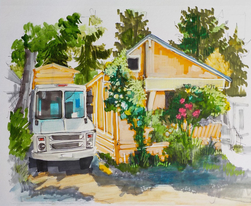 "Image courtesy of Amy D'Apice | ""The Van,"" by Amy D'Apice, on display at Bainbridge Arts & Crafts as part the artist's ""Vanishing Bainbridge"" show."