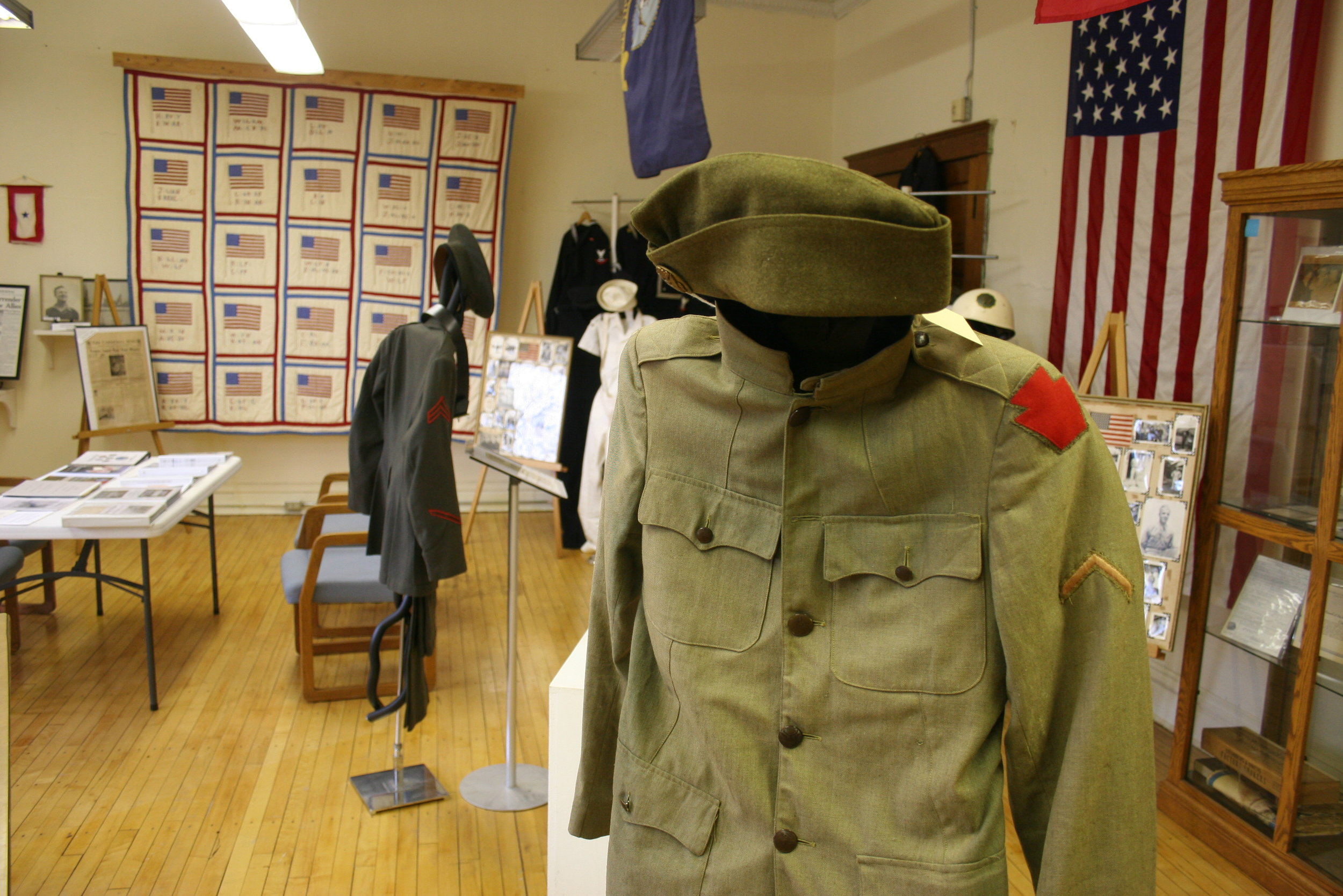 You'll see uniforms and memorabilia from the Civil War to present in our Veterans Room.