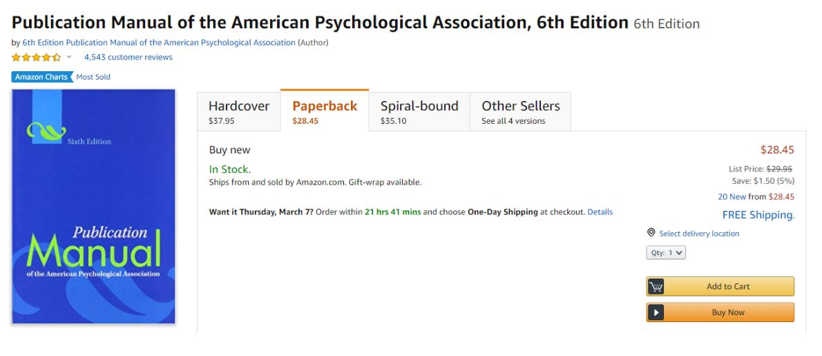 6th APA Edition Textbook On Amazon