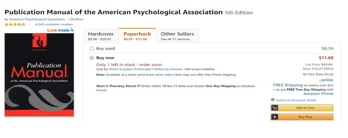 5th APA Edition Textbook On Amazon