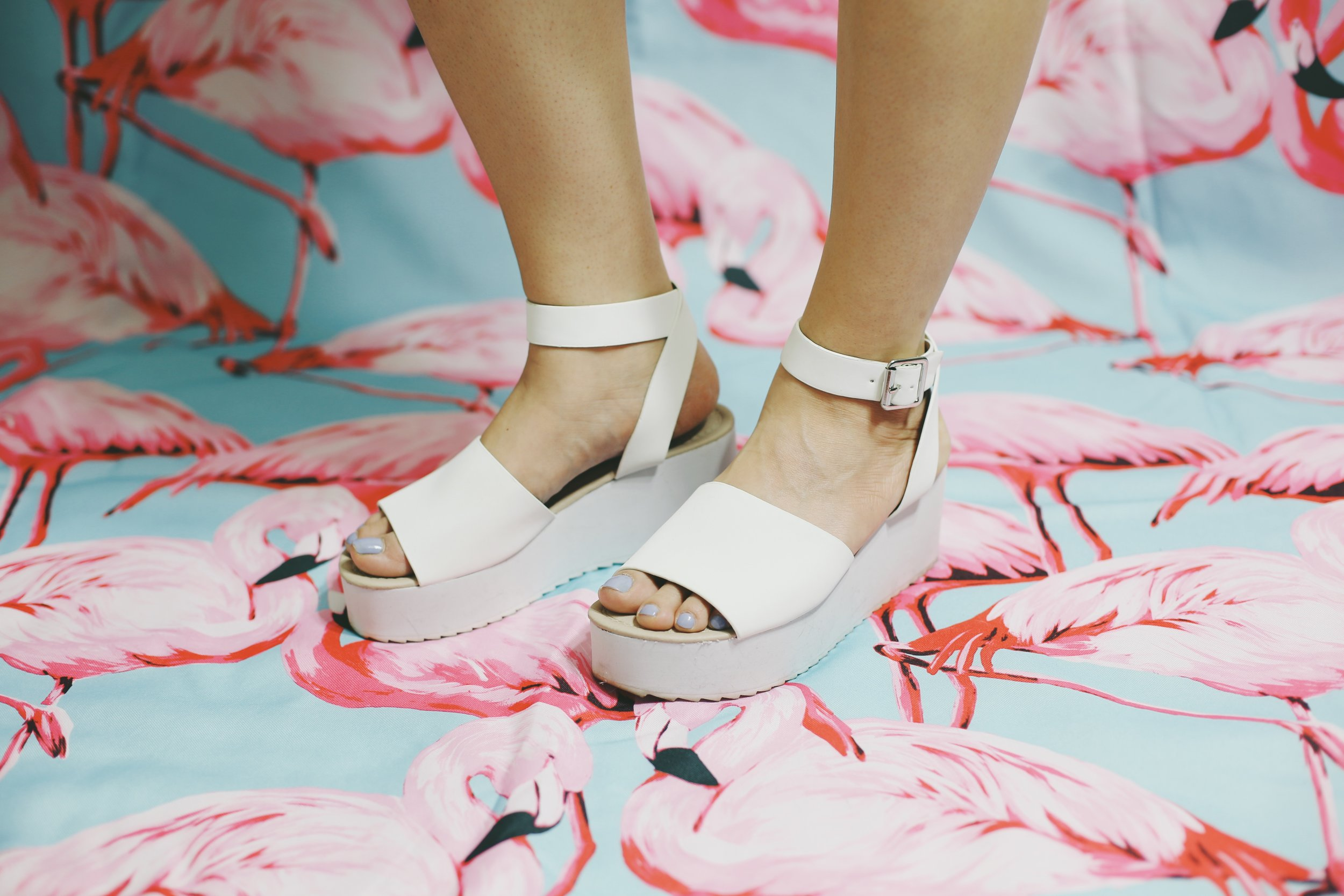 Asos Take Off Wedge Sandals in white