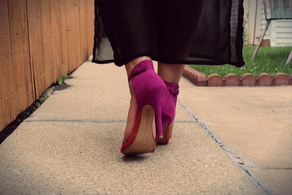 zara color block heels