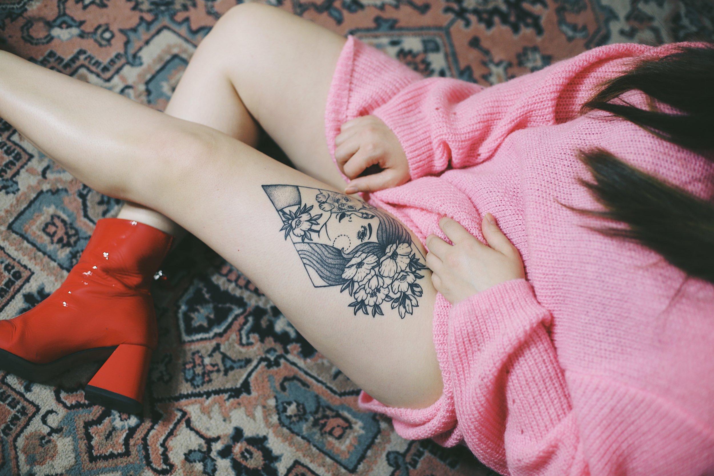 black line work tattoo