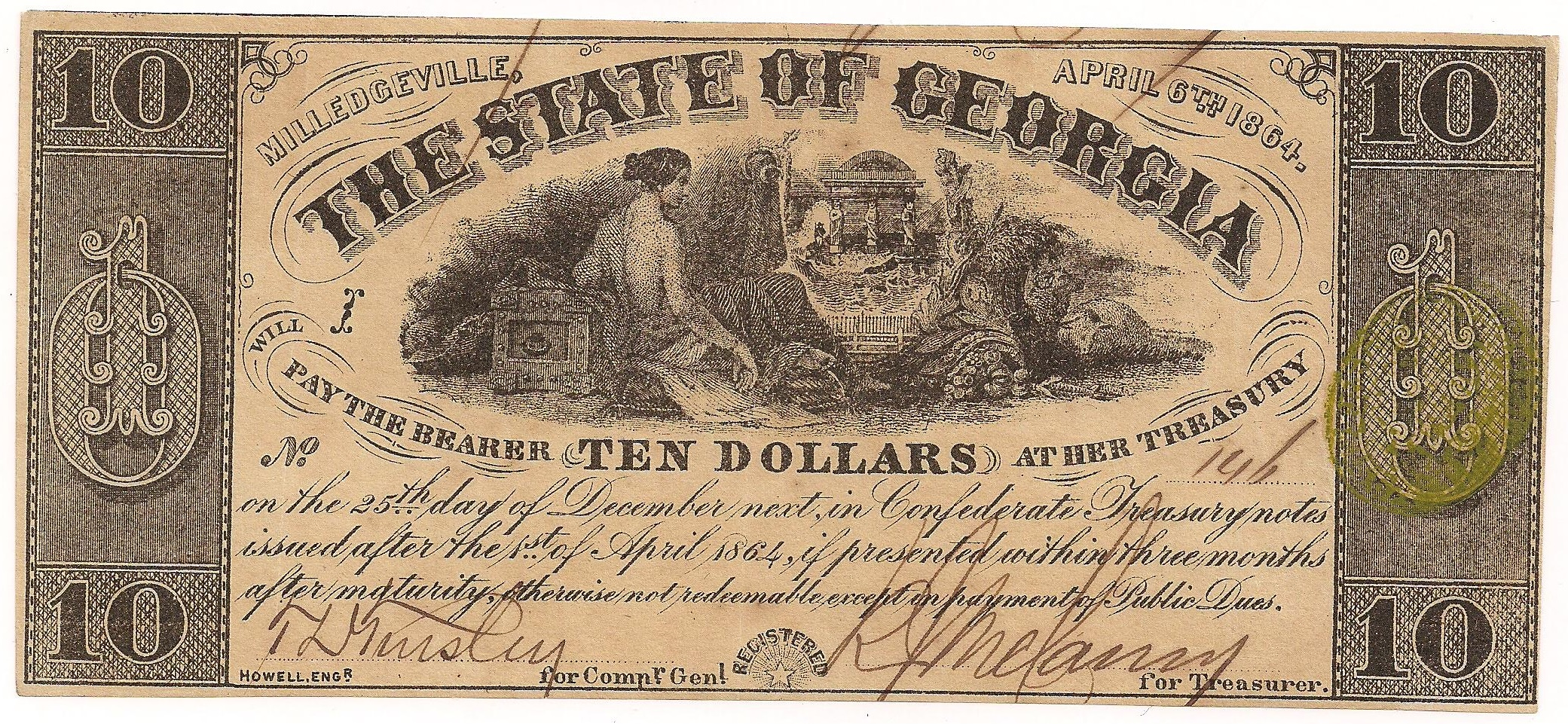 1864 $10 - Type 28 (large plate letters)