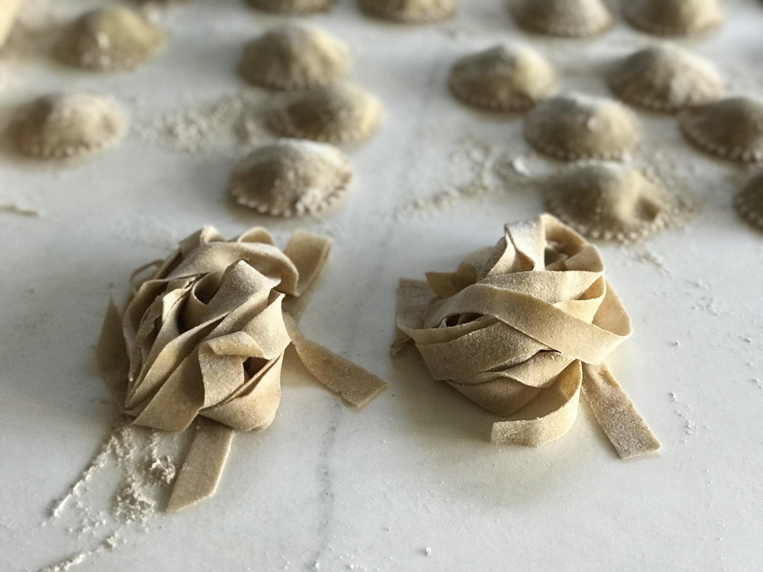 Fettucine and ravioli