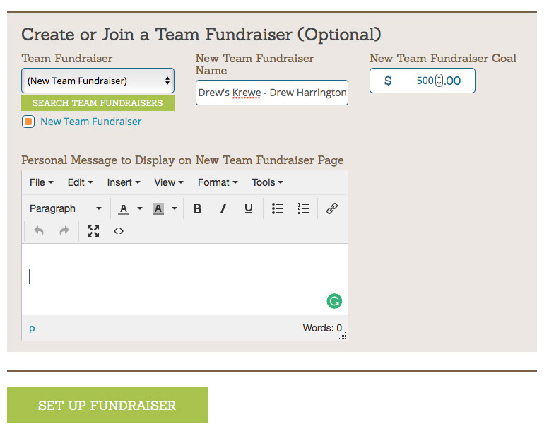 - Here's where you give your team fundraiser a name. Here is the formula: