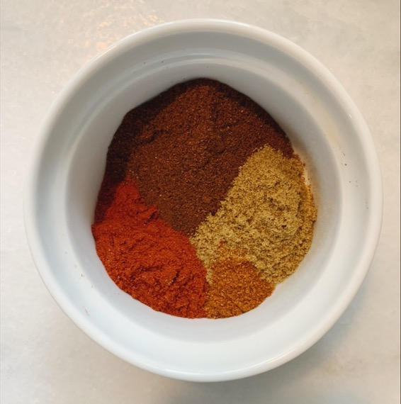 Chili Powder, Cumin, Cayenne, Paprika