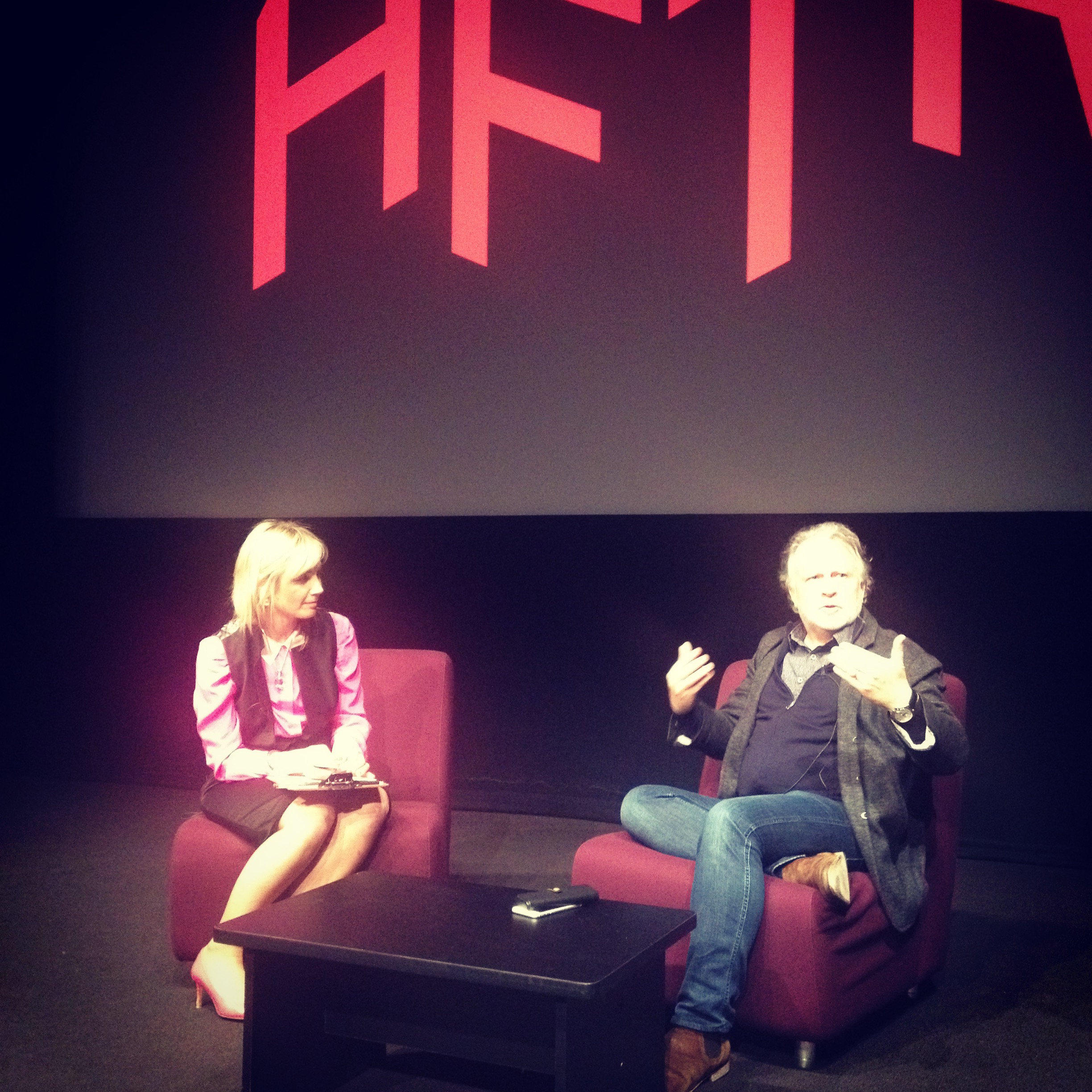 Holly Lyons quizzing US showrunner Shane Brennan at Australian Film Television and Radio School