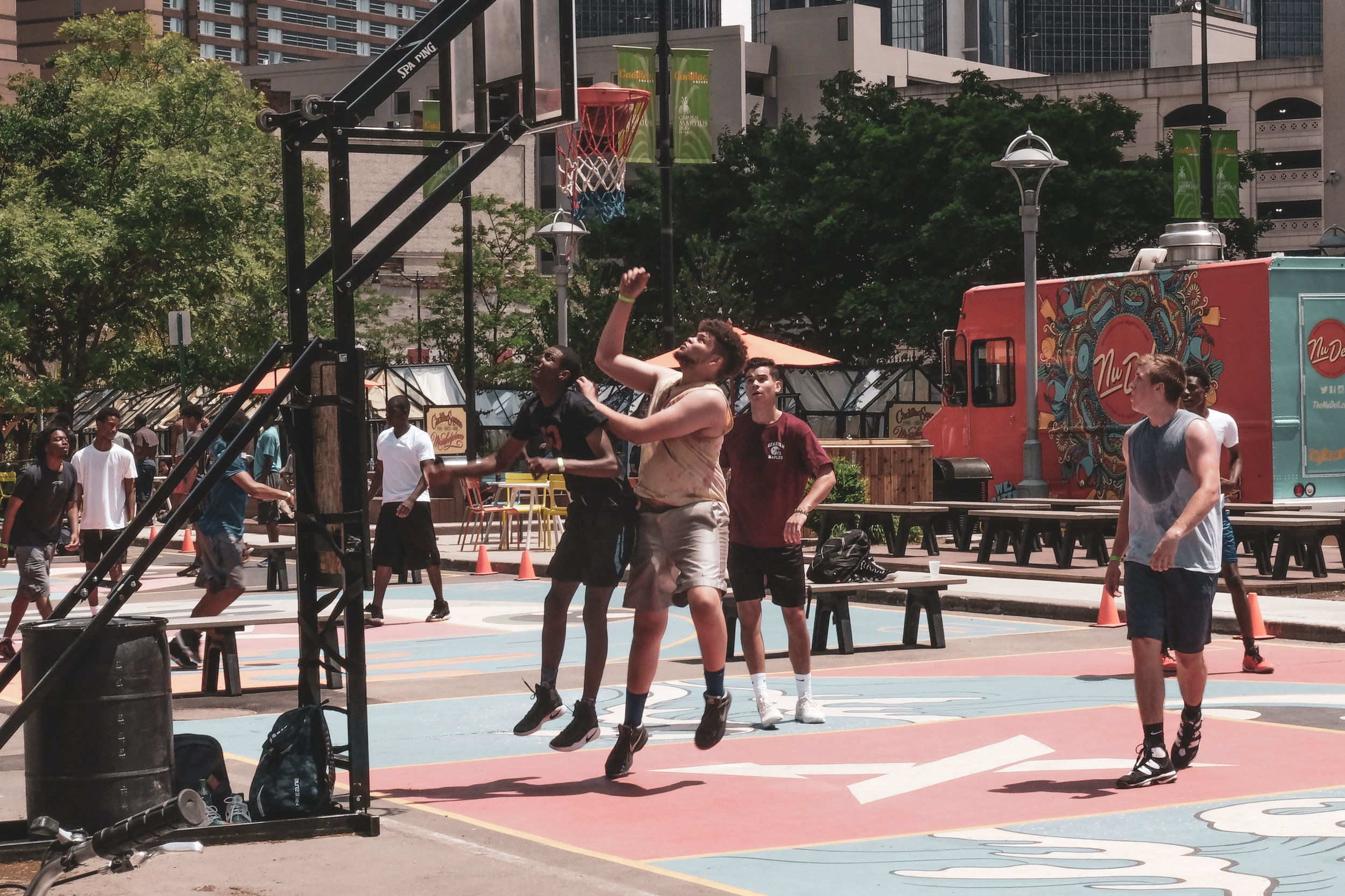 This strip of basketball courts were right next to pop up shops and outdoor seating surrounded by public parks and fountains. It was beautiful.