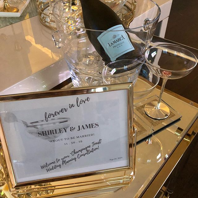 We are all set for Shirley and James Champagne Toast Consultation today!  #weddingconsultation #amazingcouple #bridetobe #wedding2019