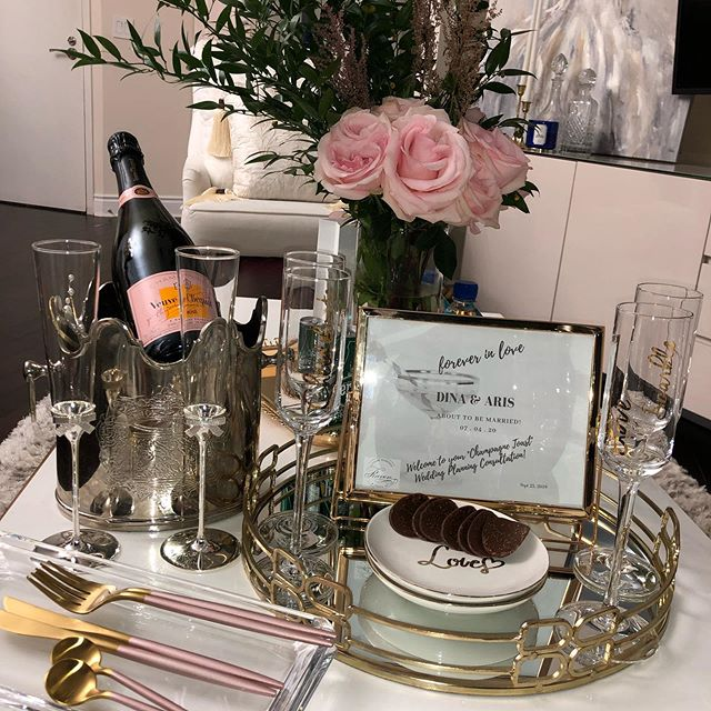 All set for Dina and Aris's Champagne Toast Consultation today!  #weddingplanning #decordesign #brides2020 #wedding #eventplanning # couplesgoaks