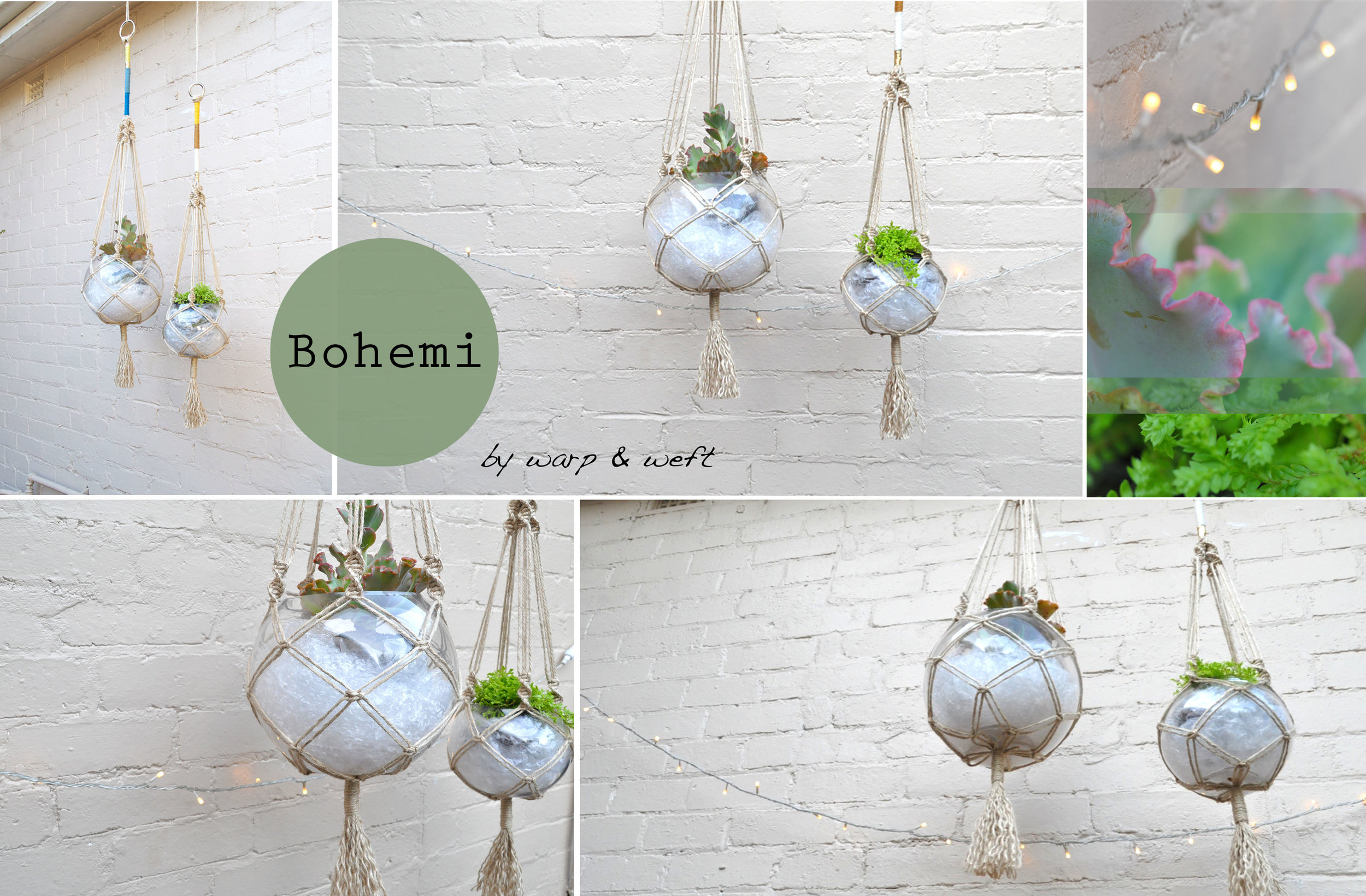 This macramé plant hanger is made from natural jute locally sourced and features a series of accented coloured threads for that more modern look. Its a beautiful piece for an interior space... - Comes in 2 sizes. Small (Right) and Large (Left)- Each pieces come with glass sphere bowl