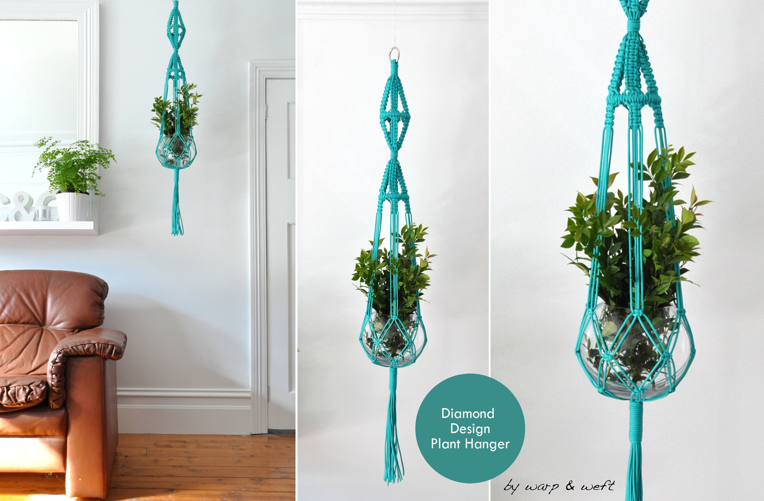 Beautifully handmade Macrame Plant Hangers. A classic re-designed into a modern stylish interior piece. The top detail feature design, similar to a diamond creating a nice statement design.  * Includes Glass fishbowl vase * Range of colours available  Note - Each piece is hand made to order. Please allow for a 2-3 weeks waiting period.