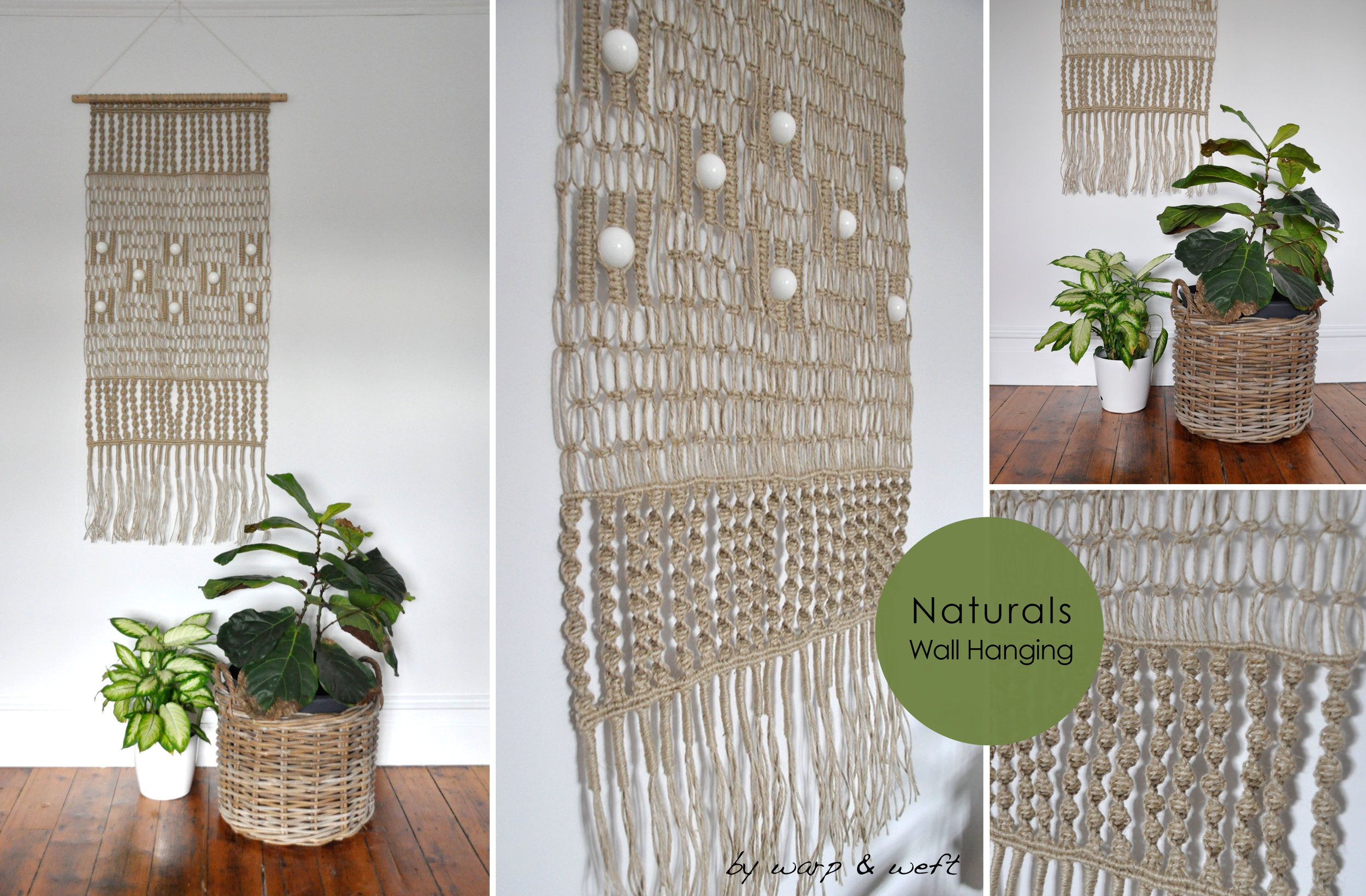 Classic 70's Macrame made modern. Reinventing the retro version of the past with a modern fresh twist.  This piece was design using a range a traditional Macrame knots. Each piece is hand made and designed from scratch. Not one piece is a like which makes the product more bespoke, a one off. This style comes in a 'Natural Jute' for a more earthy style interior. Each piece is made to order. Please allow 3 weeks for deliver
