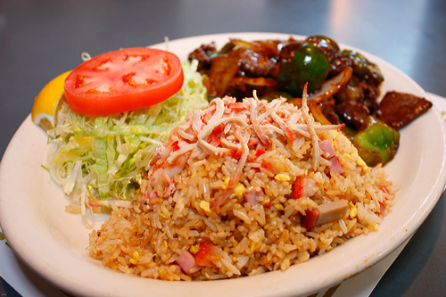 Green Pepper Steak with Fried Rice