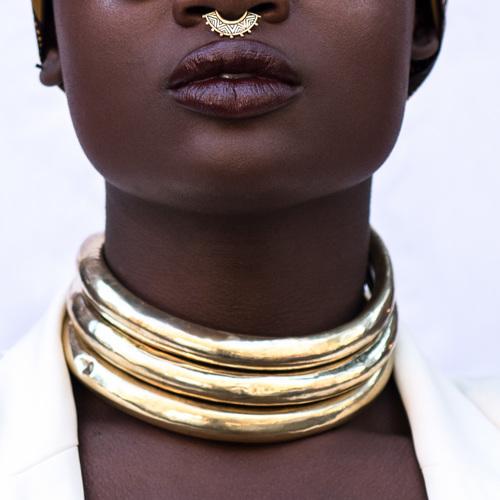 Fanm Djanm: Luanda Gold Neck Cuffs